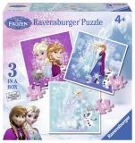 Puzzle Frozen, 3 buc in cutie, 25/36/49 piese Ravensburger