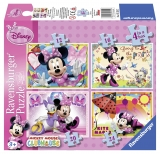 Puzzle Minnie Mouse, 4 buc in cutie, 12/16/20/24 piese Ravensburger