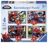 Puzzle Spiderman, 4 buc in cutie, 12/16/20/24 piese Ravensburger