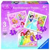 Puzzle printesele Disney, 3 buc in cutie, 25/36/49 piese Ravensburger