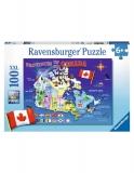 Puzzle Harta Canadei, 100 Piese Ravensburger