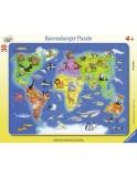 Puzzle Harta Lumii Cu Animale, 30 Piese Ravensburger